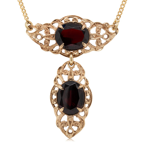 Deja Vu 9ct Yellow Gold Garnet Necklace - Walker & Hall