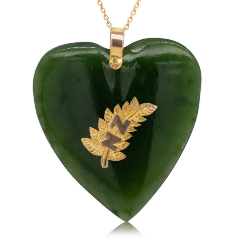 Vintage 9ct Yellow Gold Greenstone Heart Pendant - Walker & Hall