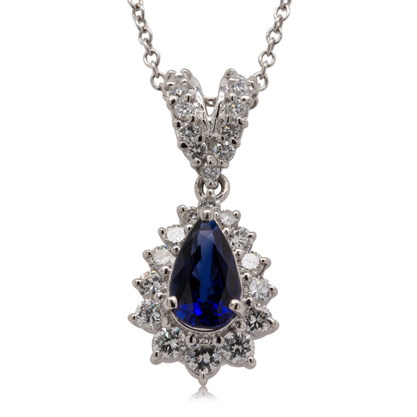 Deja Vu Platinum 1.30ct Sapphire & Diamond Drop Pendant - Walker & Hall