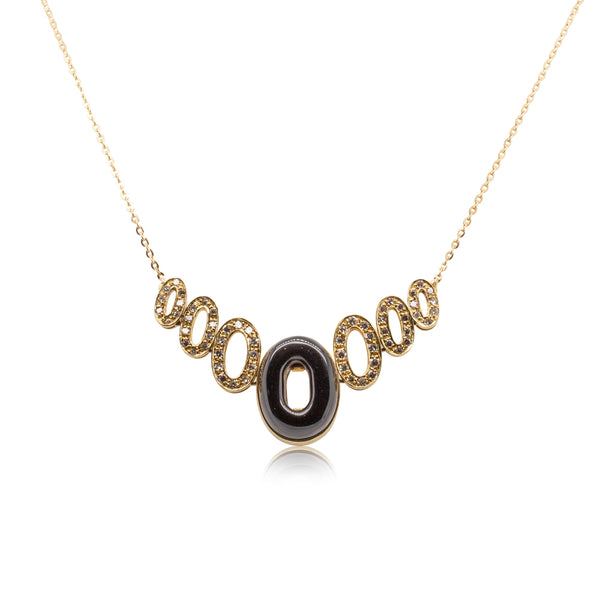 Deja Vu 18ct Yellow Gold .90ct Diamond & Black Onyx Pendant - Walker & Hall