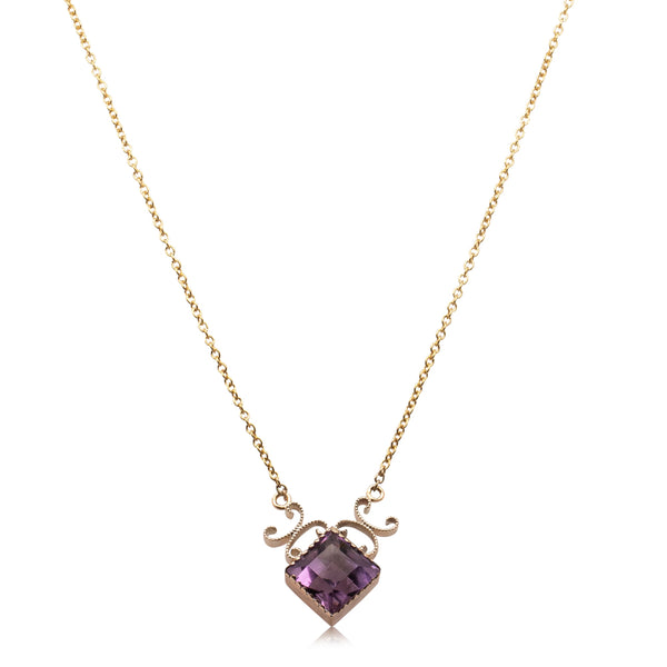 Vintage 9ct Yellow Gold Amethyst Necklace - Walker & Hall