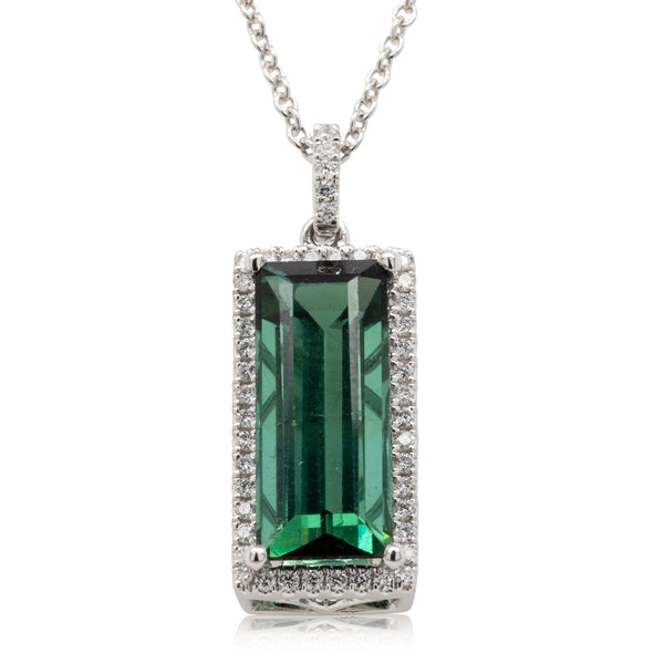 18ct White Gold 3.65ct Tourmaline & Diamond Pendant - Walker & Hall