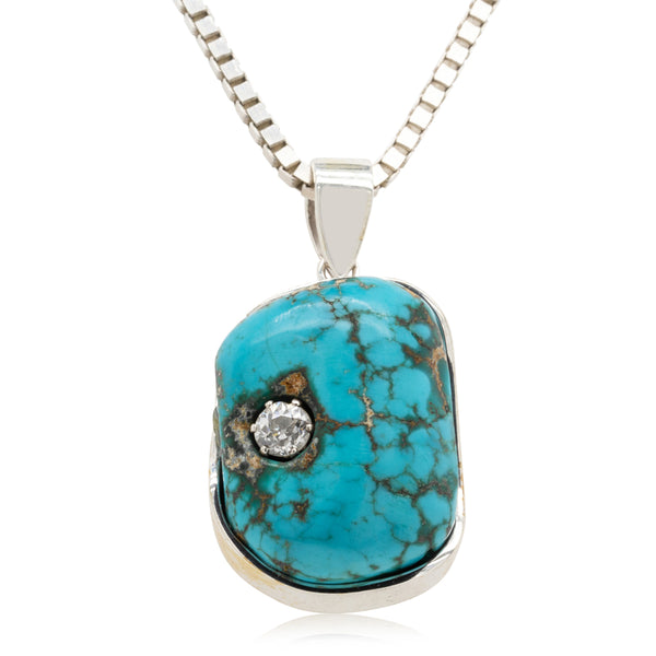 Vintage Sterling Silver Turquoise & Diamond Pendant - Walker & Hall