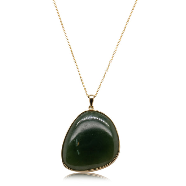 14ct Yellow Gold Free Form NZ Greenstone Necklace - Walker & Hall