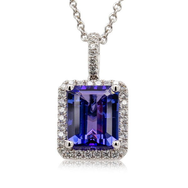 18ct White Gold 2.07ct Tanzanite & Diamond Pendant - Walker & Hall