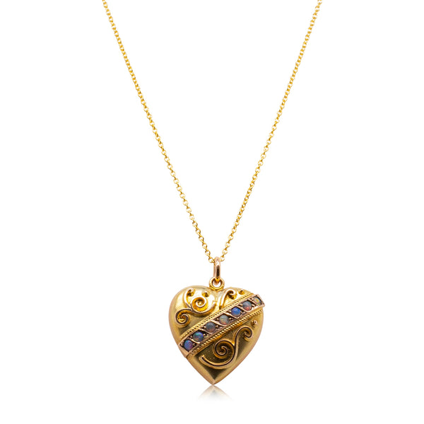 Vintage 9ct Yellow & Rose Gold Opal Heart Pendant - Walker & Hall