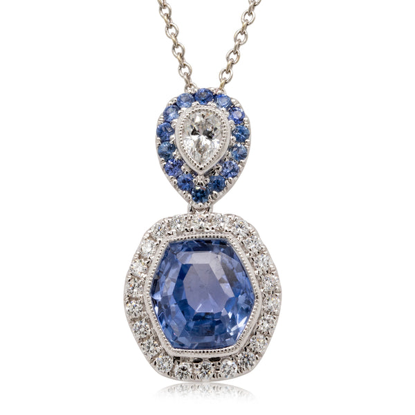 18ct White Gold Sapphire & Diamond Drop Pendant - Walker & Hall