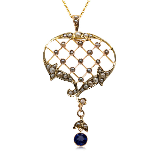 Vintage 9ct Yellow Gold Synthetic Blue Stone & Seed Pearl Pendant - Walker & Hall