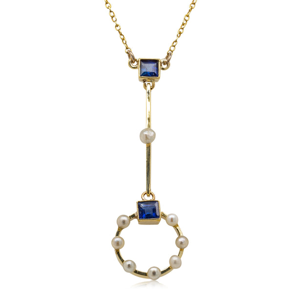 Vintage 15ct Yellow Gold Sapphire & Pearl Pendant - Walker & Hall