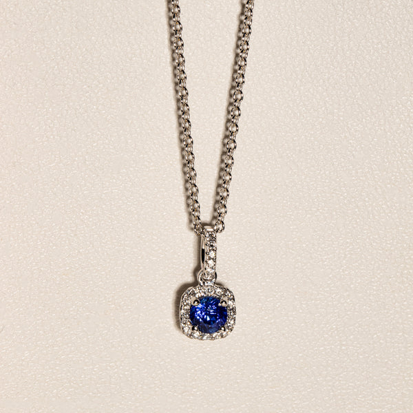 18ct White Gold .40ct Sapphire & Diamond Peony Necklace - Walker & Hall