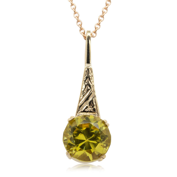 Deja Vu 9ct Rose Gold Yellow Stone Pendant - Walker & Hall