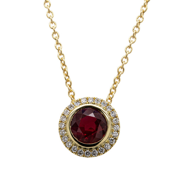 18ct Yellow Gold .88ct Ruby & Diamond Isla Necklace - Walker & Hall