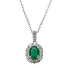 18ct White Gold .65ct Emerald & Diamond Pendant - Walker & Hall