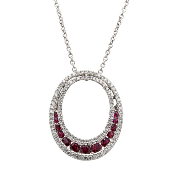 18ct White Gold .53ct Ruby & Diamond Pendant - Walker & Hall