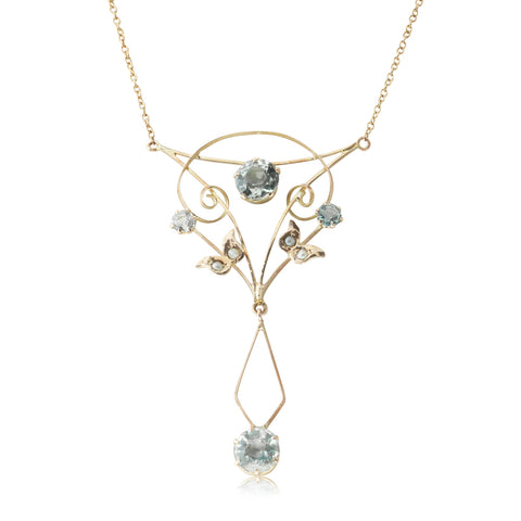 Vintage 9ct Yellow Gold 2.50ct Aquamarine & Seed Pearl Necklace - Walker & Hall