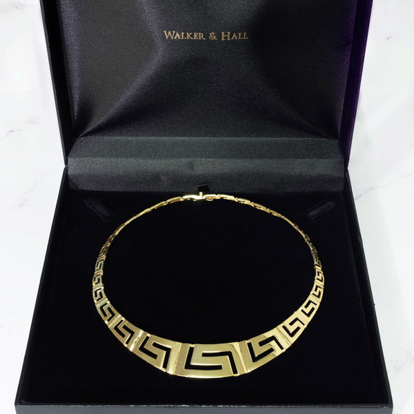 Vintage 14ct Yellow Gold Greek Key Patterned Necklace - Walker & Hall