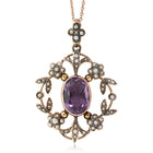 Vintage 9ct Rose Gold Amethyst & Seed Pearl Pendant - Walker & Hall