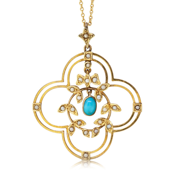 Vintage 9ct Yellow Gold Turquoise & Seed Pearl Necklace - Walker & Hall