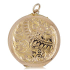 Vintage 9ct Yellow Gold Flower Patterned Locket - Walker & Hall