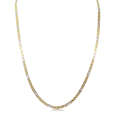 Deja Vu 9ct Yellow & White Gold Fancy Link Chain - Walker & Hall