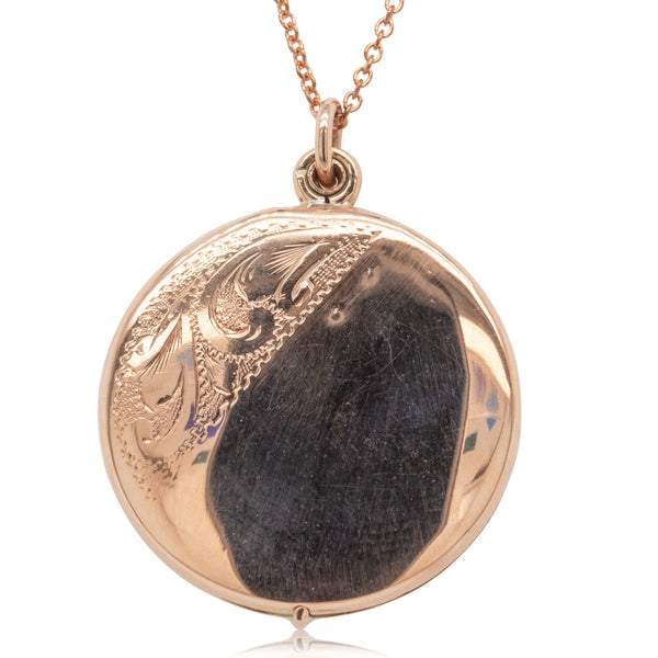 Vintage 9ct Rose Gold Engraved Locket - Walker & Hall