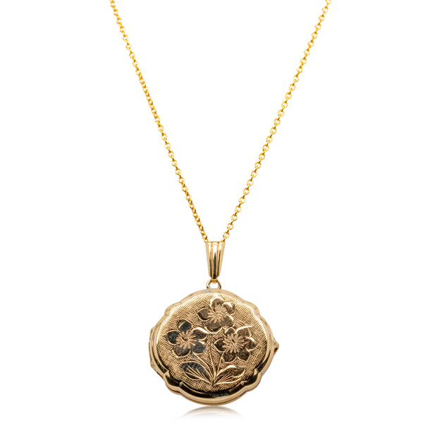 Deja Vu 9ct Yellow Gold Floral Engraved Locket - Walker & Hall