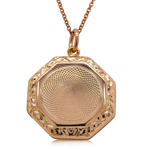 Vintage 9ct Rose Gold Octagonal Engraved Locket - Walker & Hall