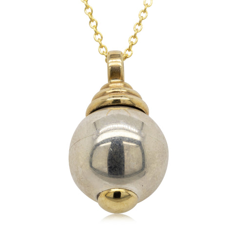 Vintage 9ct Yellow Gold & Sterling Silver Ball Pendant - Walker & Hall