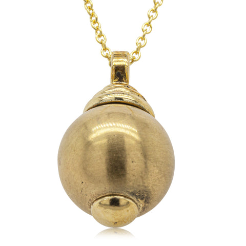 Vintage 9ct Yellow Gold Brushed Ball Pendant - Walker & Hall