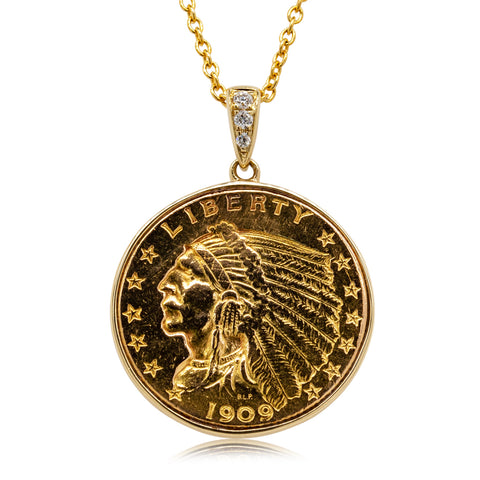 14ct Yellow Gold Quarter Eagle & Diamond Coin Pendant - Walker & Hall