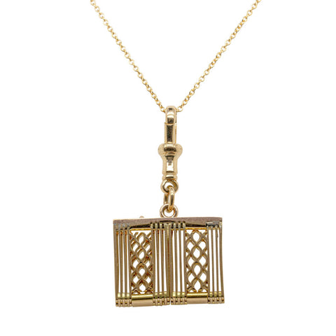 Vintage 18ct Yellow Gold Gate Link Pendant - Walker & Hall