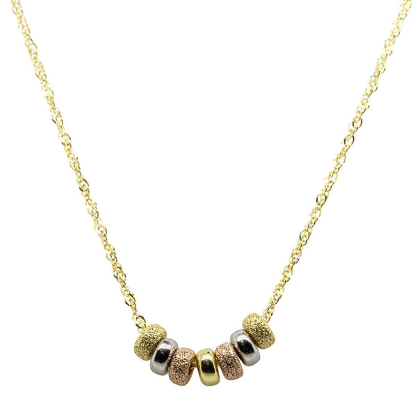 9ct Tri-Tone Seven Lucky Rings Necklace - Walker & Hall