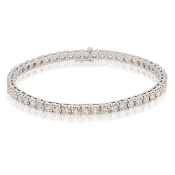 18ct White Gold 5.85ct Diamond Jubilee Tennis Bracelet - Walker & Hall