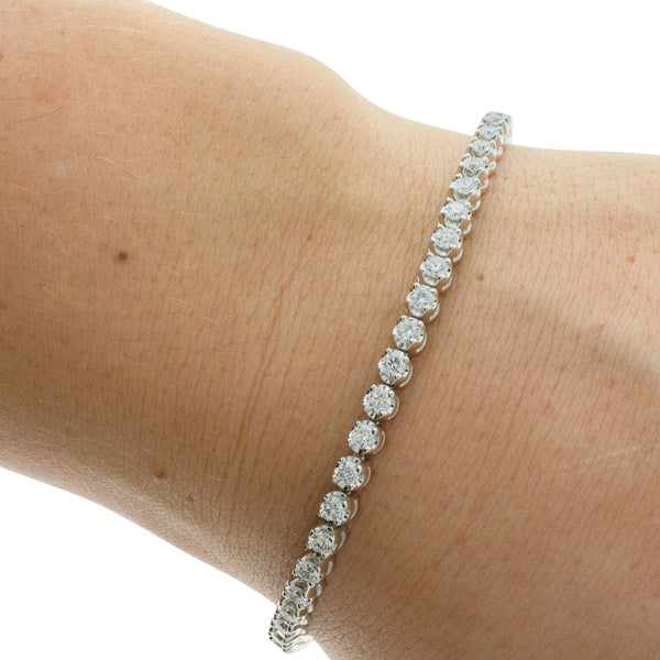 9ct White Gold 3.31ct Diamond Tennis Bracelet - Walker & Hall