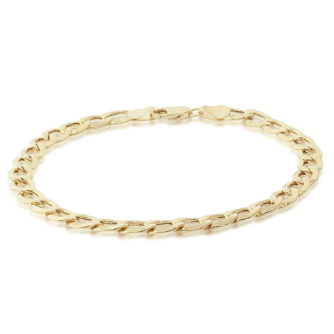 9ct Yellow Gold Flat Bevelled Curb Link Bracelet