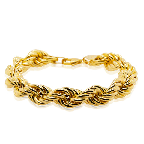 18ct Yellow Gold Twisted Link Bracelet - 20cm