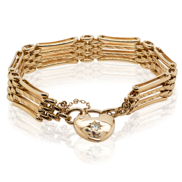 Deja Vu 9ct Yellow Gold Gate Bracelet - Walker & Hall