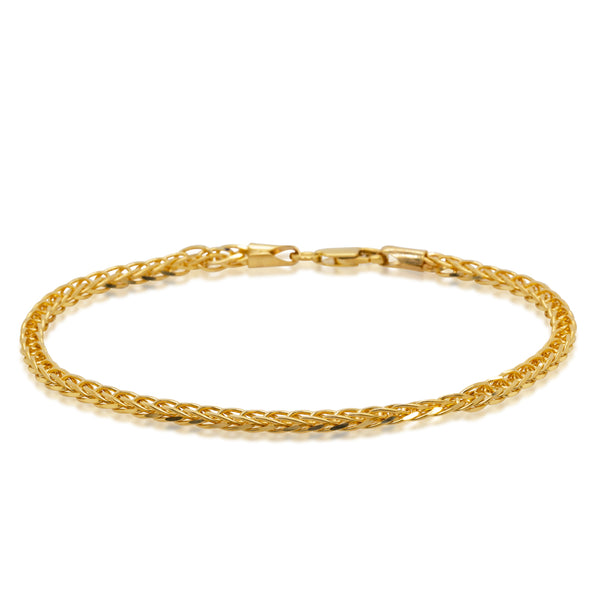 9ct Yellow Gold Square Foxtail Link Bracelet - Walker & Hall