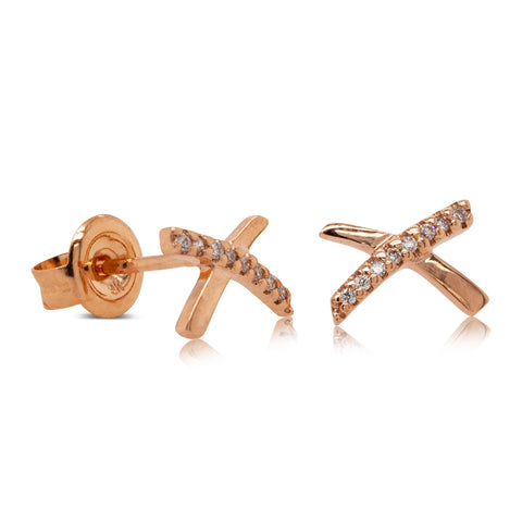 9ct Rose Gold Diamond Kiss Earrings - Walker & Hall