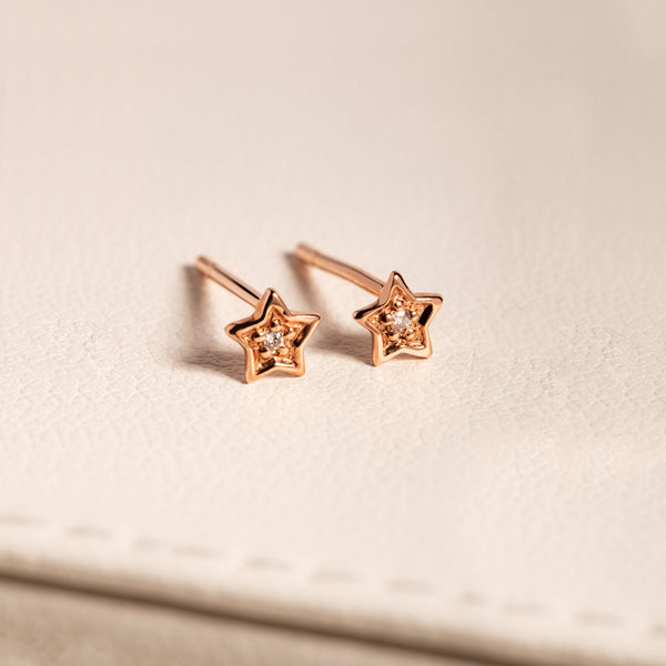 9ct Rose Gold Mini Diamond Star Studs - Walker & Hall