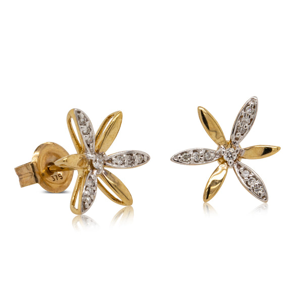 9ct Yellow Gold Diamond Flower Studs - Walker & Hall