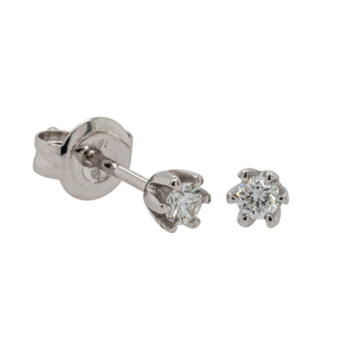 18ct White Gold .12ct Diamond Studs - Walker & Hall