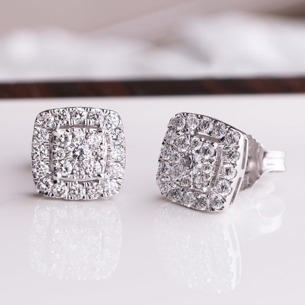 9ct White Gold .47ct Diamond Aquila Stud Earrings - Walker & Hall