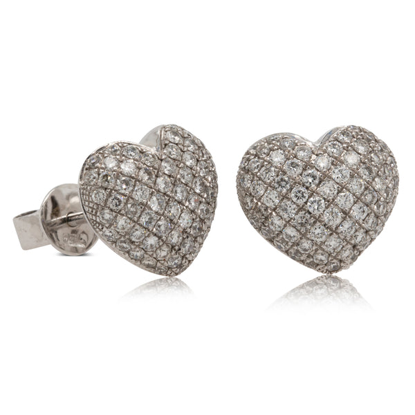 18ct White Gold .80ct Diamond Heart Studs - Walker & Hall