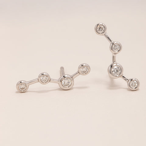 18ct White Gold & Diamond Single Air Element Earring - Walker & Hall