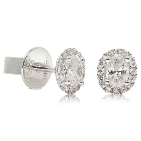 18ct White Gold .58ct Diamond Earrings - Walker & Hall
