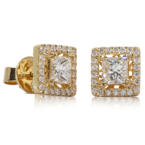 18ct Yellow Gold 1.10ct Diamond Earrings - Walker & Hall