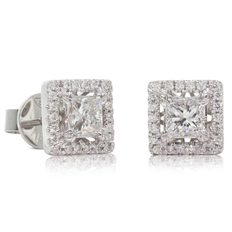 18ct White Gold 1.03ct Diamond Earrings - Walker & Hall