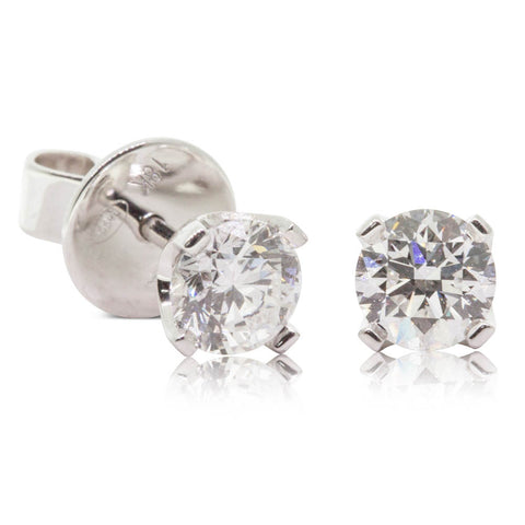 18ct White Gold 1.00ct Blossom Stud Earrings - Walker & Hall