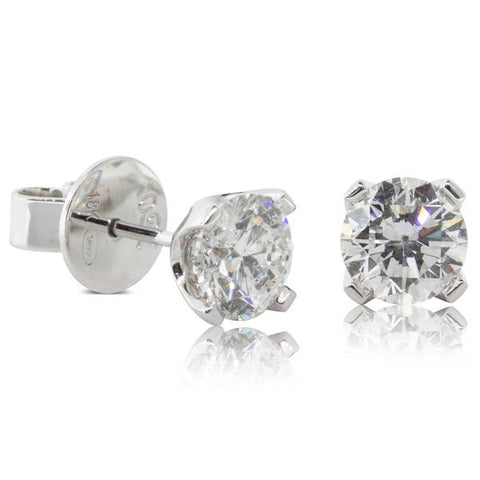 18ct White Gold 2.00ct Blossom Stud Earrings - Walker & Hall